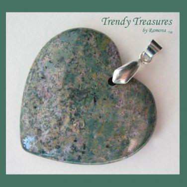 Ocean Agate Heart Pendant Polished Gemstone Bead, #TrendyTreasuresByRamona