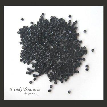 ToHo Cube Beads, 2 mm, 15 Grams, Opaque Black, No. 49, #TrendyTreasuresByRamona,