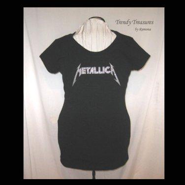 3c40362f2730a Metallica Logo, Bling Glitter Embellished T-shirt, New