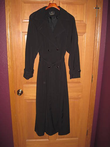 Womens Tall Girl Brand Black Trench Coat Size 12