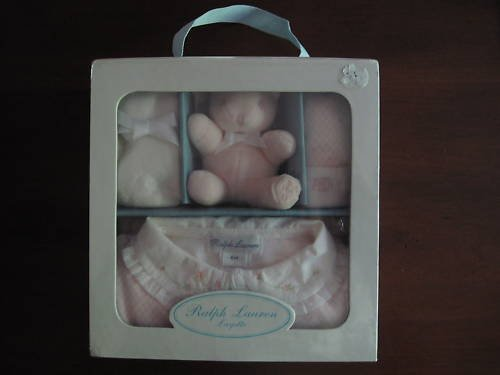 Ralph Lauren Layette 4 piece Girls Set new in plastic