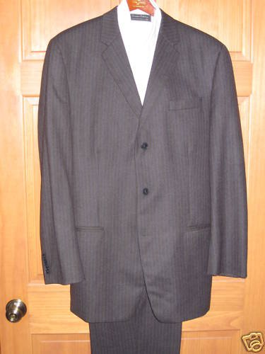 DKNY - Wool Charcoal Gray, Navy Pinstriped Suit 44 Long
