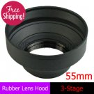 55mm Rubber Lens Hood 3-Stage with Mount for Canon Nikon