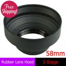 58mm Rubber Lens Hood 3-Stage with Mount for Canon Nikon