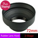 72mm Rubber Lens Hood 3-Stage with Mount for Canon Nikon