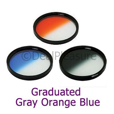 52mm Graduated Color Gray/Orange/Blue Filter Kit (3 Pics)