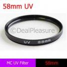 58mm Multi-Coated UV Ultra-Violet Lens Filter