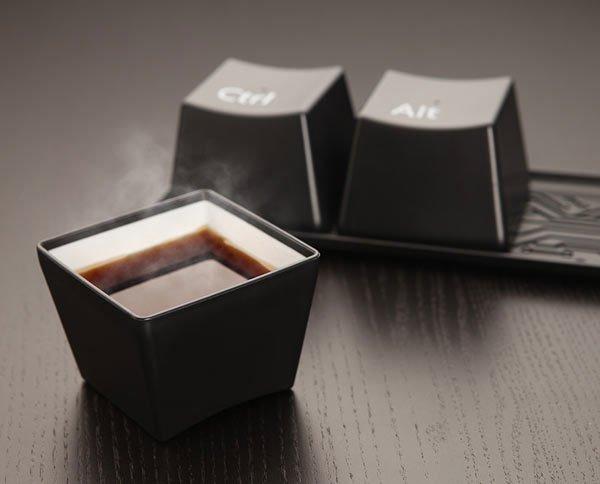 Keyboard Cup Set Coffee Drinking Three Ctrl/Alt/Del Computer Key-press Cup