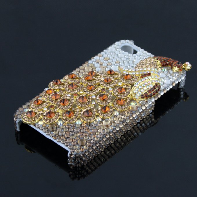 3D Phoenix Rhinestone Case Cover Protector for Apple iPhone 4G 4S New (gold diamond grad)