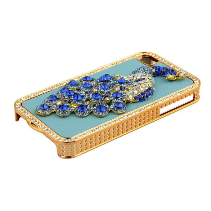 3D Phoenix Rhinestone Case Cover Protector for Apple iPhone 4G 4S New (blue leather)