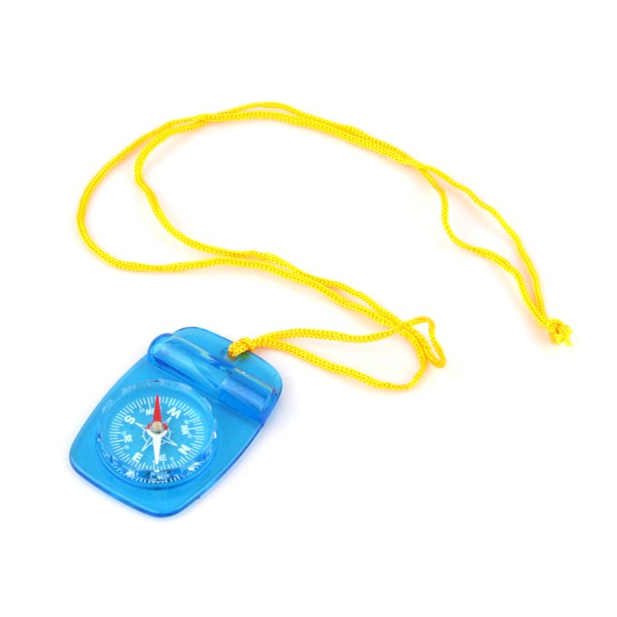 New Emergency Compass with Lanyard and Safety Whistle