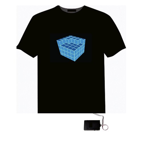 EL LED T-Shirt Glowing Sound Activated - Cubic (Size XL)