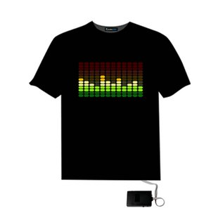 EL LED T-Shirt Light Glowing DJ Figure - Music Frequency Spectrum Moving (Size XL)