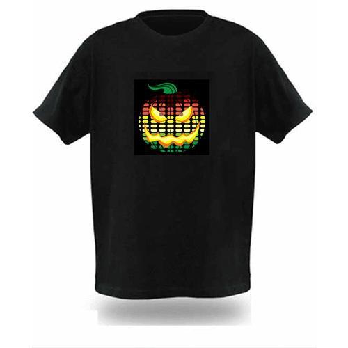 EL LED T-Shirt Light Glowing Figure - Pumpkin Head - Halloween Dress Gift (Size XXL)