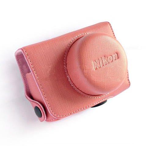 PU Leather Case Bag Cover for Nikon J1 J2 10mm Lens (Color Pink)