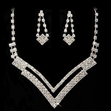 Ladies' Rhinestone Dignified Necklace And Earring Set Jewelry