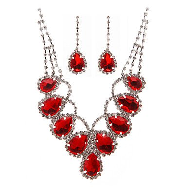 Red Rhinestone Ladies' Jewelry Set Necklace And Earrings