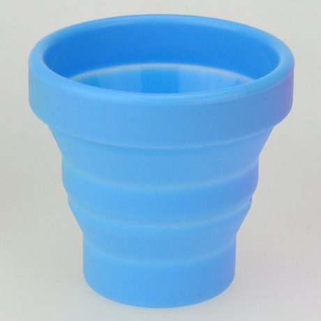 Portable Silicon Telescopic Drink Cup Foldable for Home Outdoor Sports Hiking - Blue