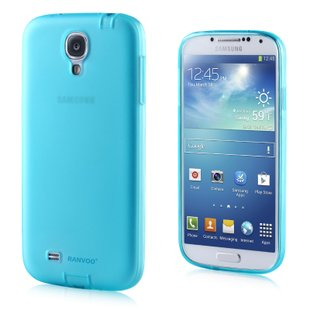 Transparent Color Case for Samsung S4 I9500 Slim Protective Shell Cover + Dust Proof - Blue