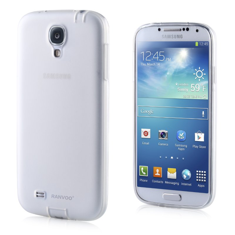 Transparent Color Case for Samsung S4 I9500 Slim Protective Shell Cover + Dust Proof - White