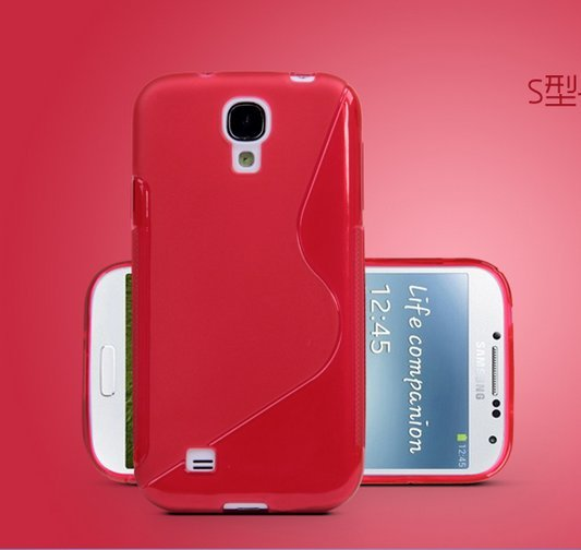 TPU Color Case for Samsung S4 I9500 Slim Protective Shell Cover + S Grain - Red