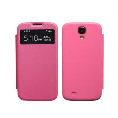 Genuine Leather Flip Case for Samsung S4 I9500 Smart Wake View Shell Cover Pink Color