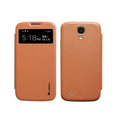 Genuine Leather Flip Case for Samsung S4 I9500 Smart Wake View Shell Cover Brown Color