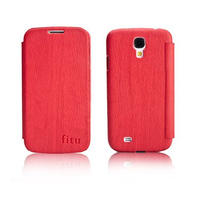 PU Leather Flip Case for Samsung S4 I9500 IV Protective Shell Cover Red Color