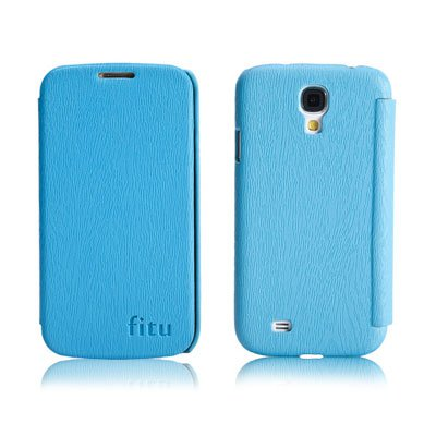 PU Leather Flip Case for Samsung S4 I9500 IV Protective Shell Cover Blue Color