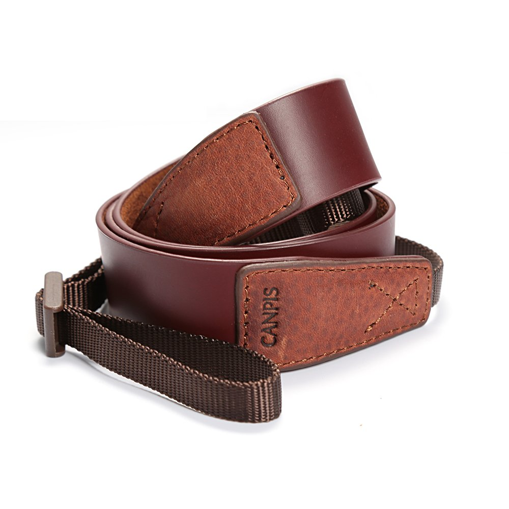 CANPIS Brown Genuine Leather Camera Neck Shoulder Strap for DSLR Canon Nikon Sony Leica Fuji