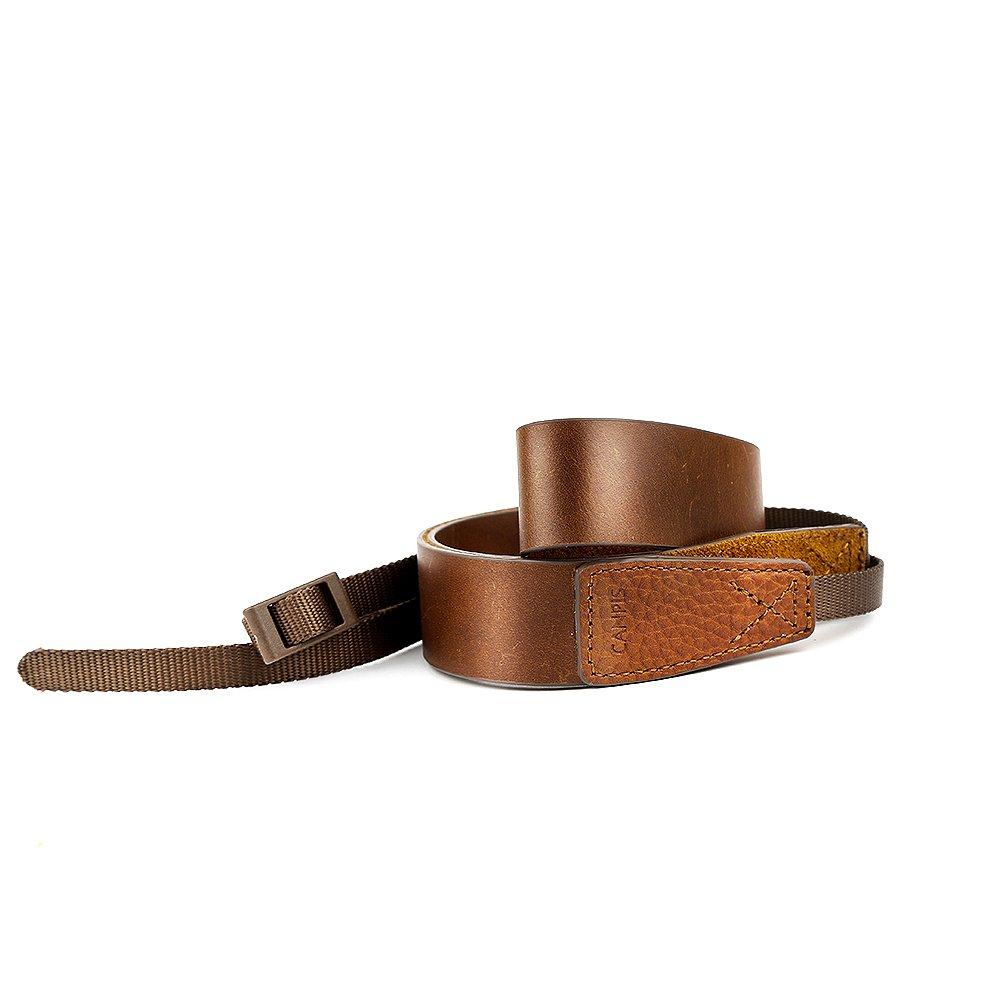 CANPIS Retro Shiny Brown Genuine Leather Camera Neck Shoulder Strap for DSLR Canon Nikon Sony Leica