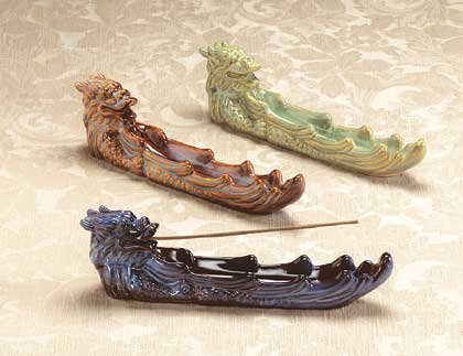 Glazed Porcelain Dragon Incense Burner 3ct