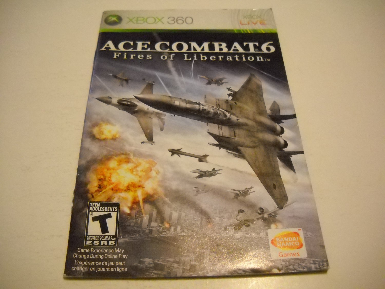 Manual ONLY ~  for Ace Combat 6 Fires of Liberation   - Xbox 360 Instruction Booklet