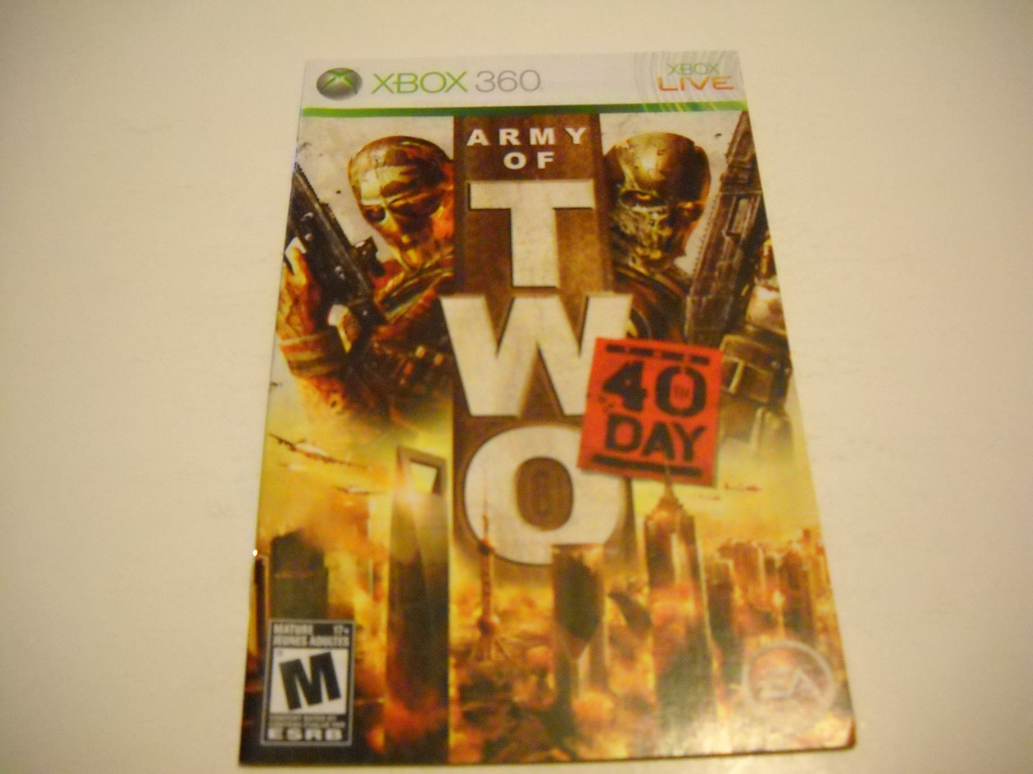 Manual ONLY ~  for Army of Two The 40th Day   - Xbox 360 Instruction Booklet