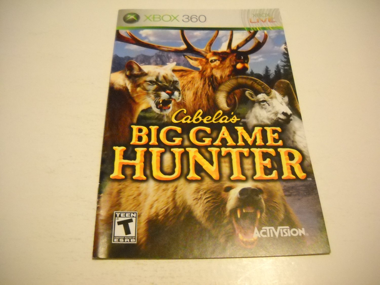 Manual ONLY ~  for Cabelas Big Game Hunter   - Xbox 360 Instruction Booklet