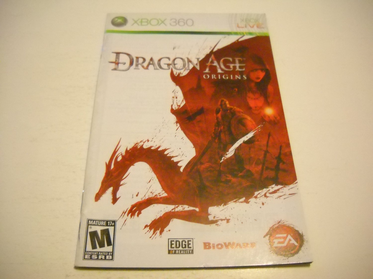 Manual ONLY ~  for Dragon Age Origins   - Xbox 360 Instruction Booklet