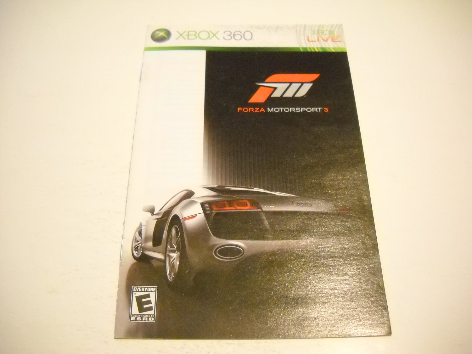 Manual ONLY ~  for Forza Motorsport 3   - Xbox 360 Instruction Booklet