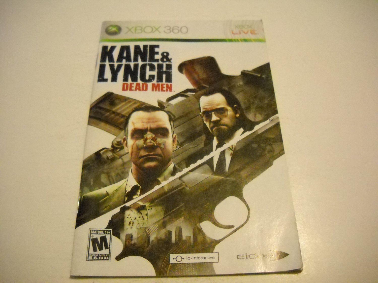 Manual ONLY ~  for Kane and Lynch Dead Men   - Xbox 360 Instruction Booklet