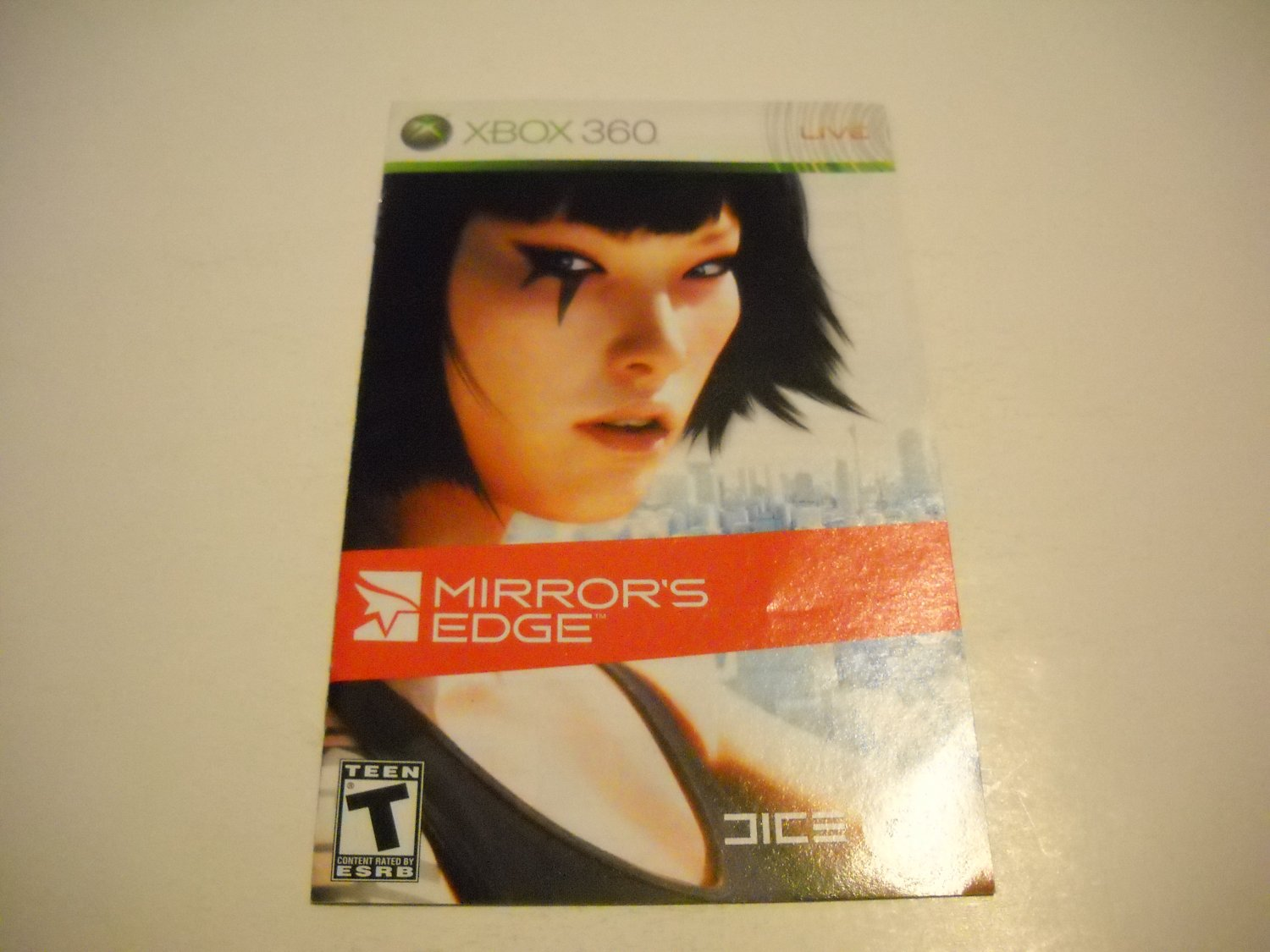 Manual ONLY ~  for Mirrors Edge   - Xbox 360 Instruction Booklet
