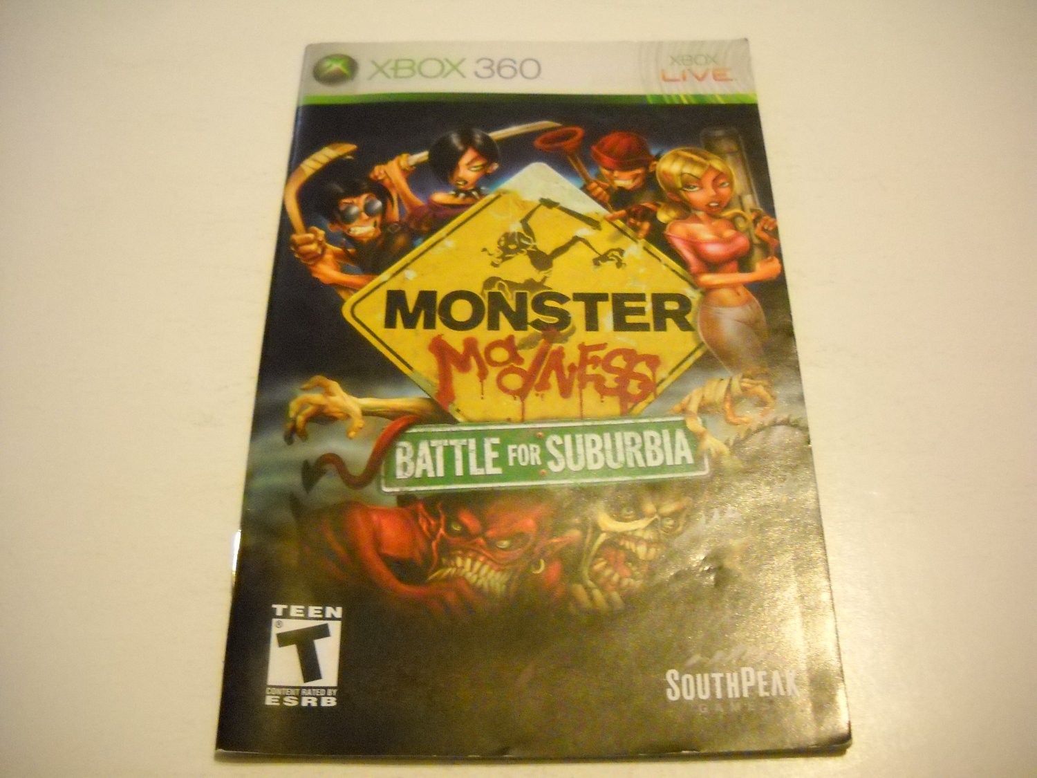 Manual ONLY ~  for Monster Madness Battle for Suburbia   - Xbox 360 Instruction Booklet