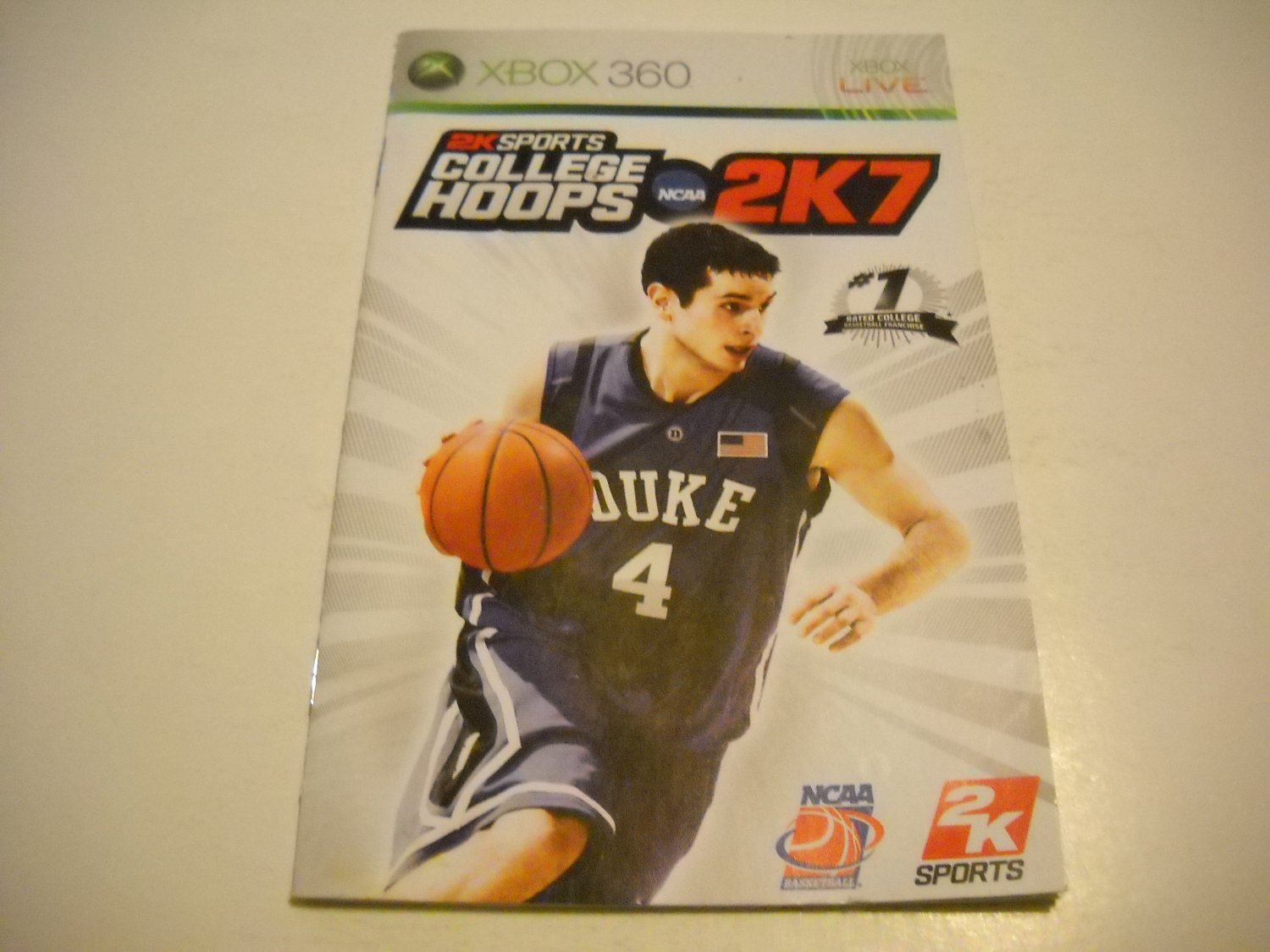 Manual ONLY ~  for NCAA College Hoops 2K7   - Xbox 360 Instruction Booklet