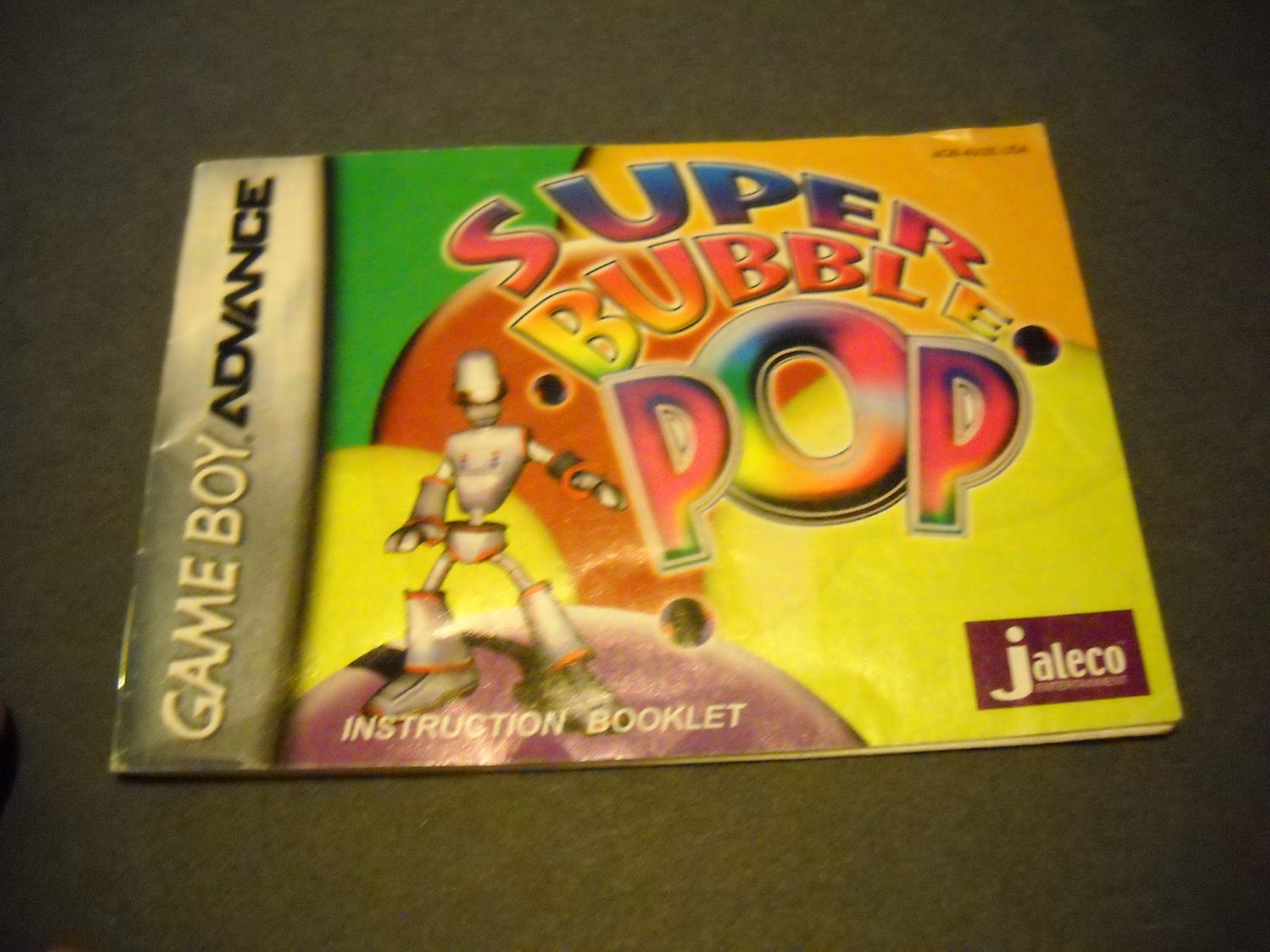 Manual ONLY ~  for Super Bubble Pop  Gameboy Advance