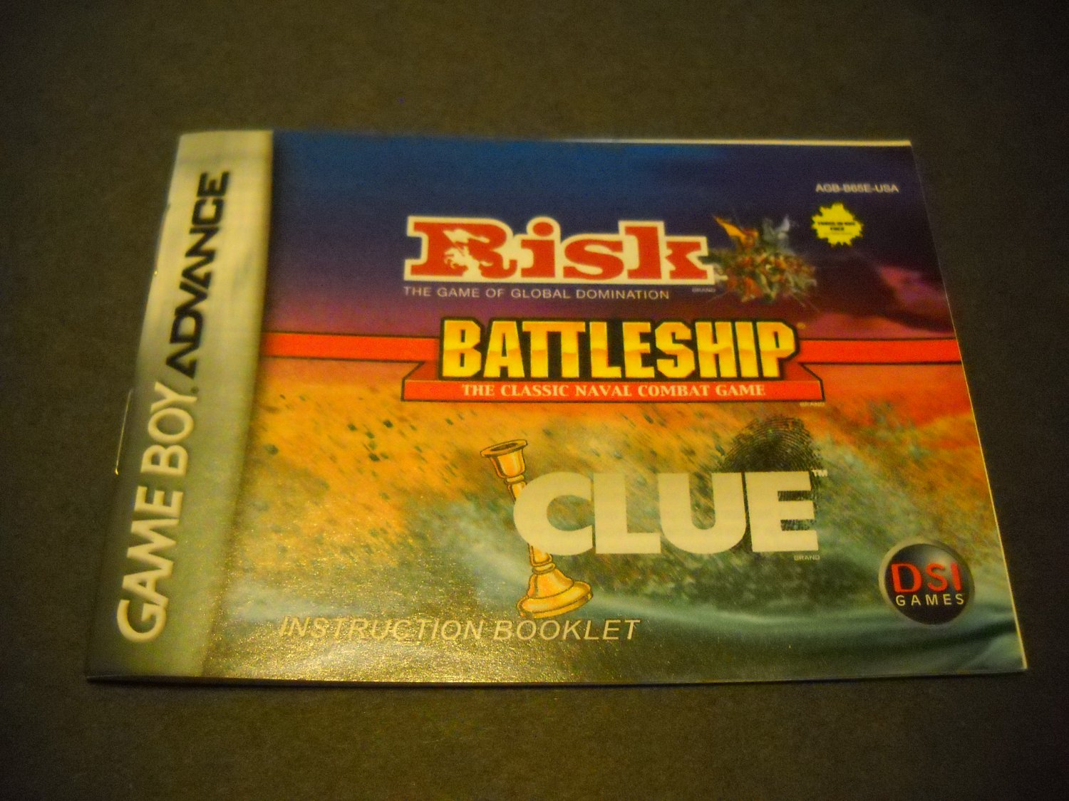 Manual ONLY ~  for Risk / Battleship / Clue  Gameboy Advance