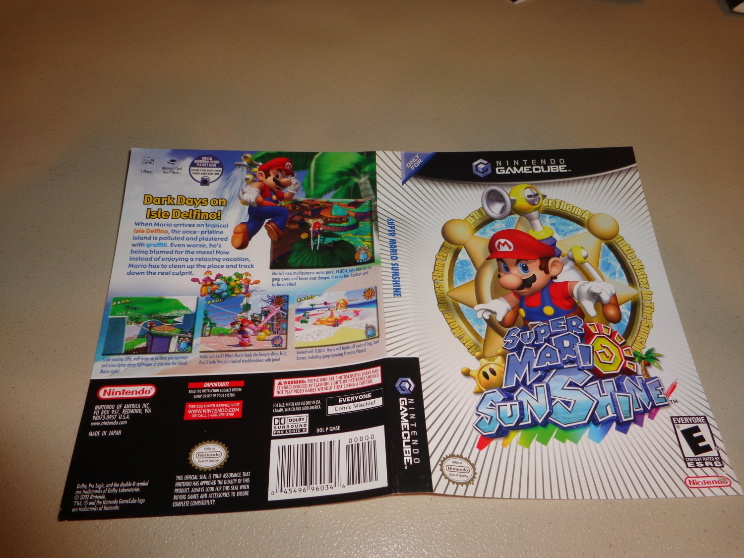 Artwork ONLY ~ Super Mario Sunshine - Gamecube Cover Art Insert