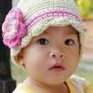 5T-Preteen CandyStripe Flapper Beanie hat - celery, pastel pink, rose pink, eggshell, yellow