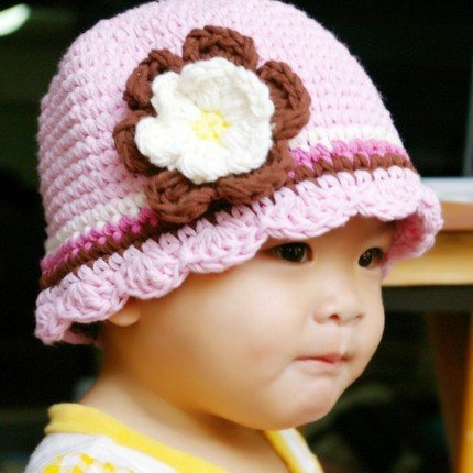 0-3 month CandyStripe Flapper Beanie hat - pastel pink, chocolate, rose pink, eggshell, yellow