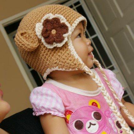 12-24 month Flower Earflap Beanie hat - Latte , Cream, brown