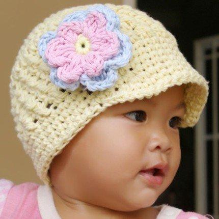 6-12 month Visor Beanie hat with flower - Vanilla, baby blue, baby pink, yellow