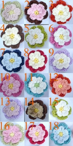 Set of Five - Double Layer Crochet Flower Hair Clip - You Pick Colors