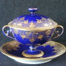 Nippon Cobalt & Gold Scroll Design Lidded Cream Soup